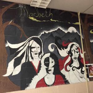 Macbeth mural, Mr. Rose's classroom, pre-1977, Beaver Local High School.