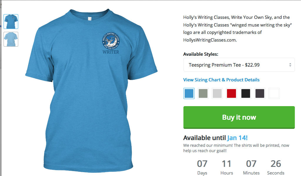 Men's/unisex small logo WRITER Tee, multiple colors CLICK IMAGE FOR SHOP