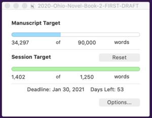 Ohio Novel Word Daily Words: 1402 of 1250
