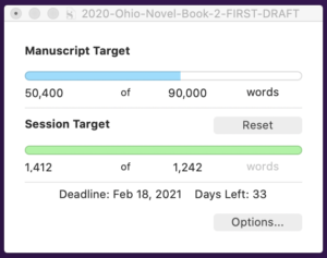 Tuesday Jan 5, 21 word count: 50,400 of 90,000