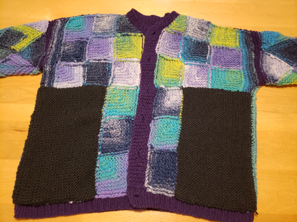 Sweater, inside out, with pockets sewn in